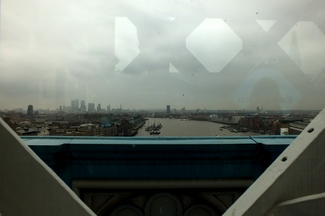 The View from the walkway, looking east towards Canary Wharf