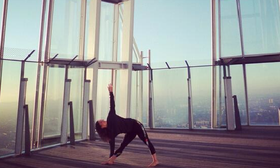 Now you remember wh you moved to London. To do yoga at the top of the Shard!